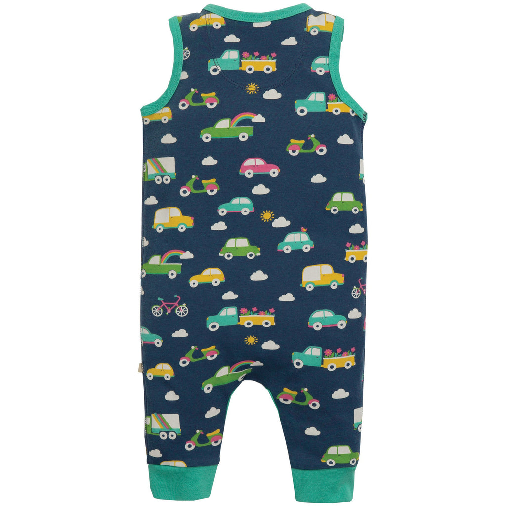 Frugi - Kneepatch Dungaree Space Blue Rainbow Roads - PopSee Online