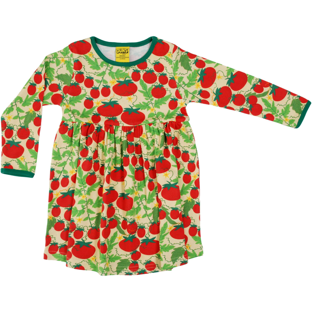 Duns Sweden - Growing Tomatoes Pale Yellow Long Sleeve Dress W Gather Skirt - PopSee Online