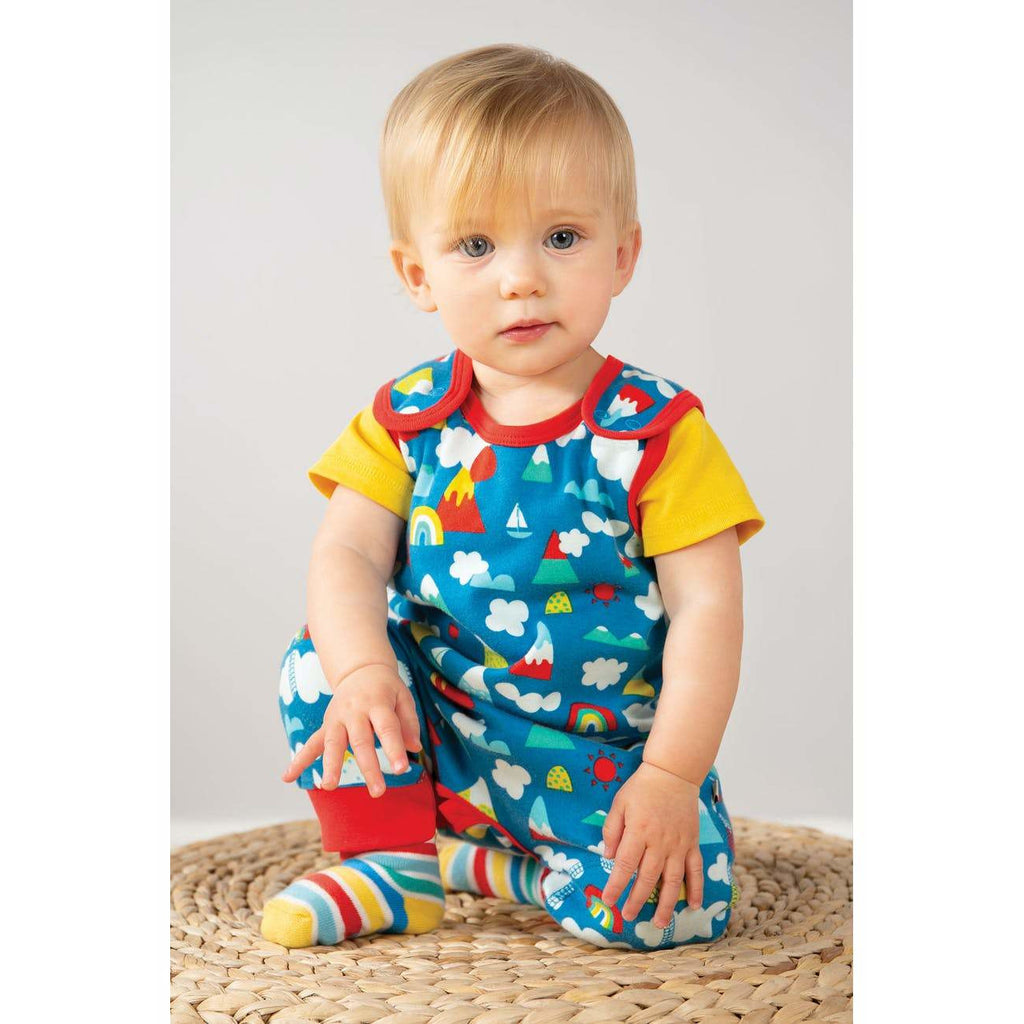 Frugi - Kneepatch Dungaree  Climb A Rainbow (last one sz 3-6M)