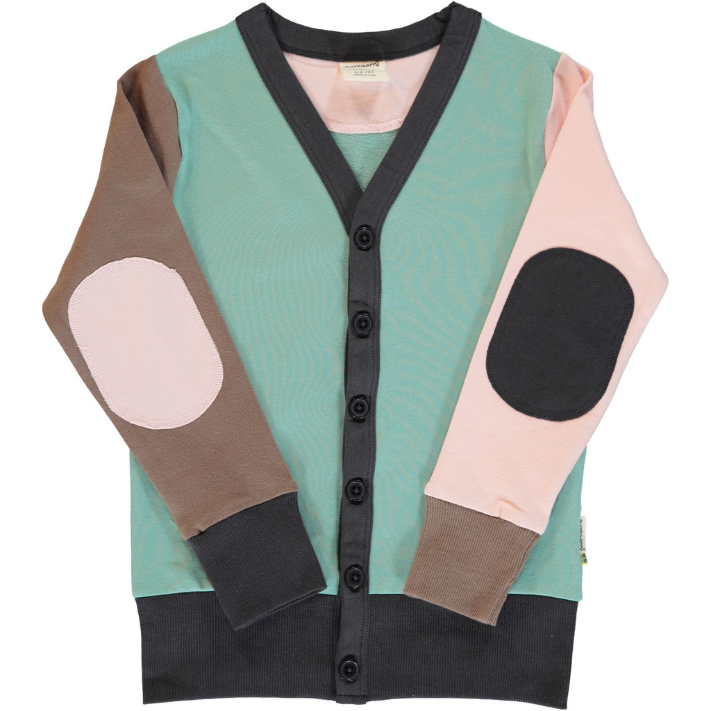 Maxomorra - Cardigan V Sweat Block Multi Forest (last one sz 9-12M)