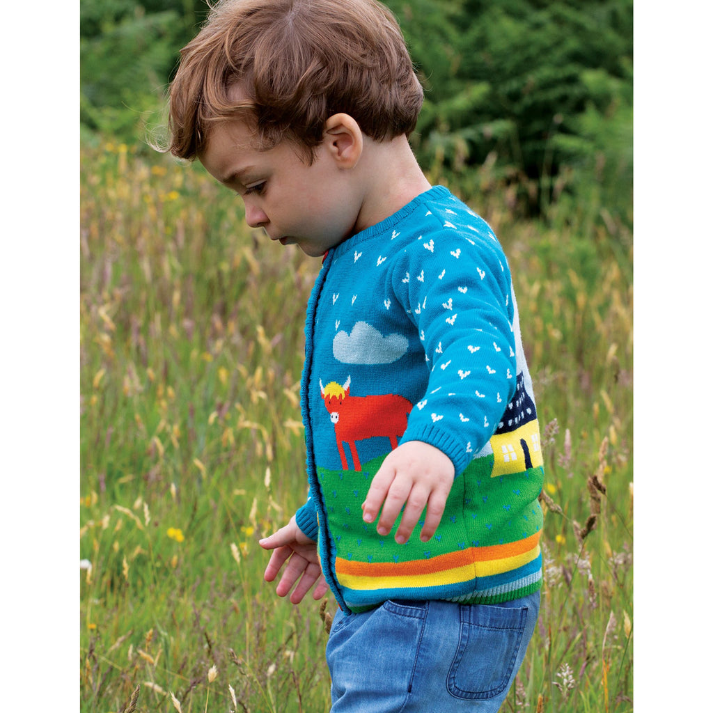 Frugi - Cuddly Knitted Cardigan - Tobermory Teal/Tractor