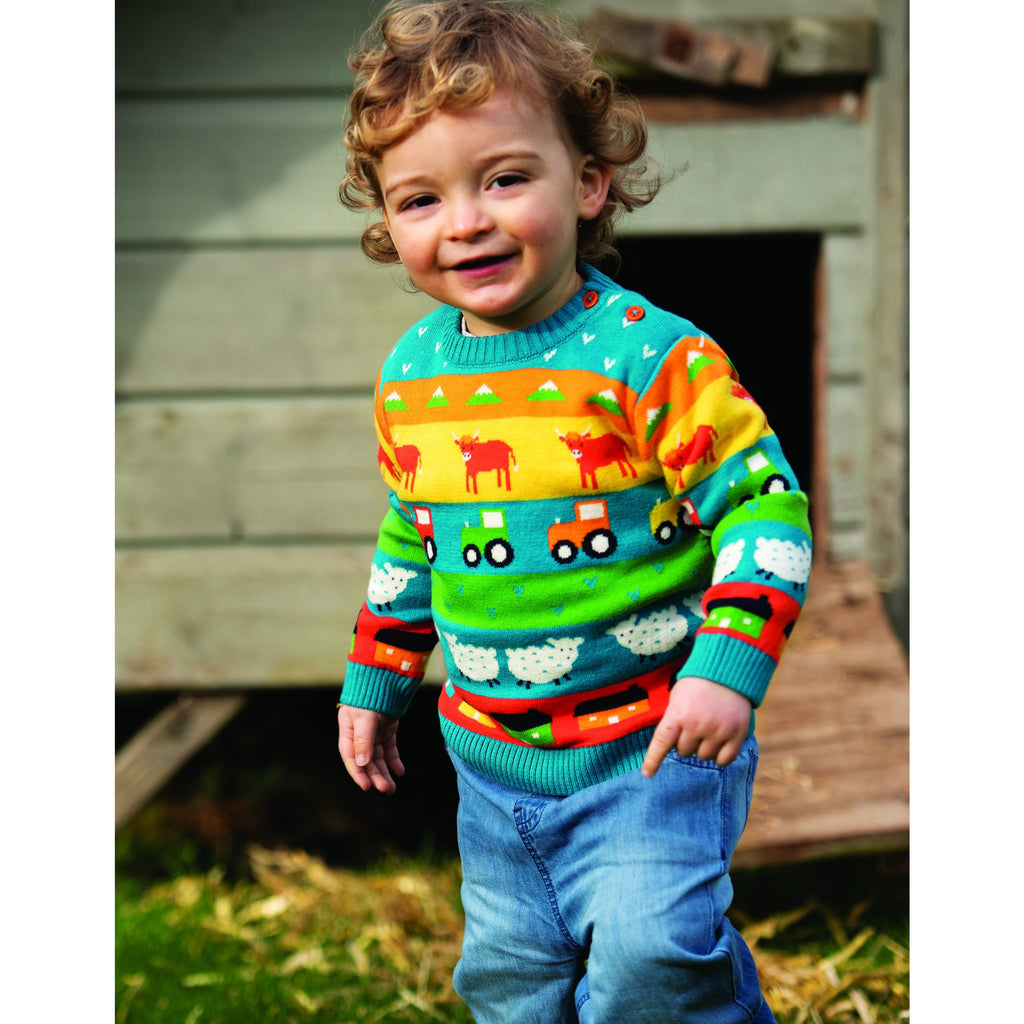 Frugi - Little Finn Fairisle Jumper - Tractor Fairisle