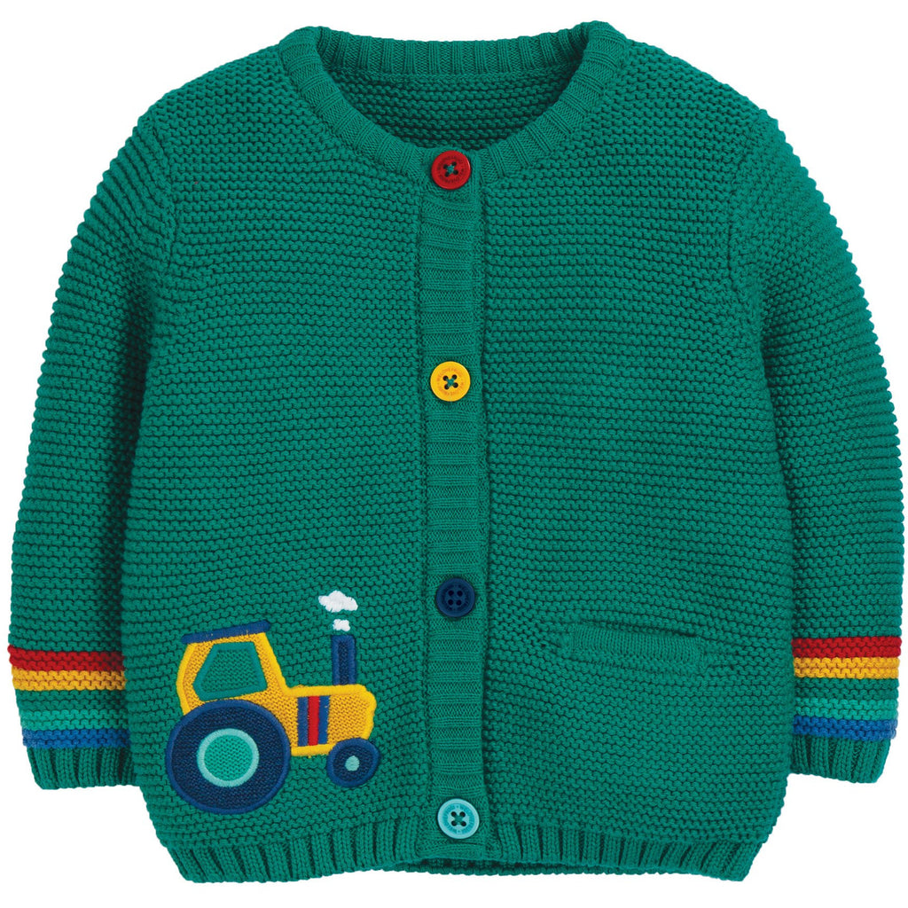 Frugi - Cuddly Knitted Cardigan Jade/Tractor - PopSee Online