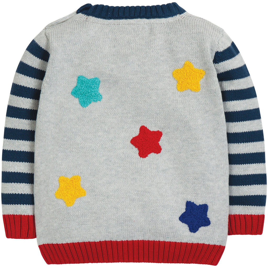 Frugi - Kal Knitted Jumper Grey Marl/Transport - PopSee Online