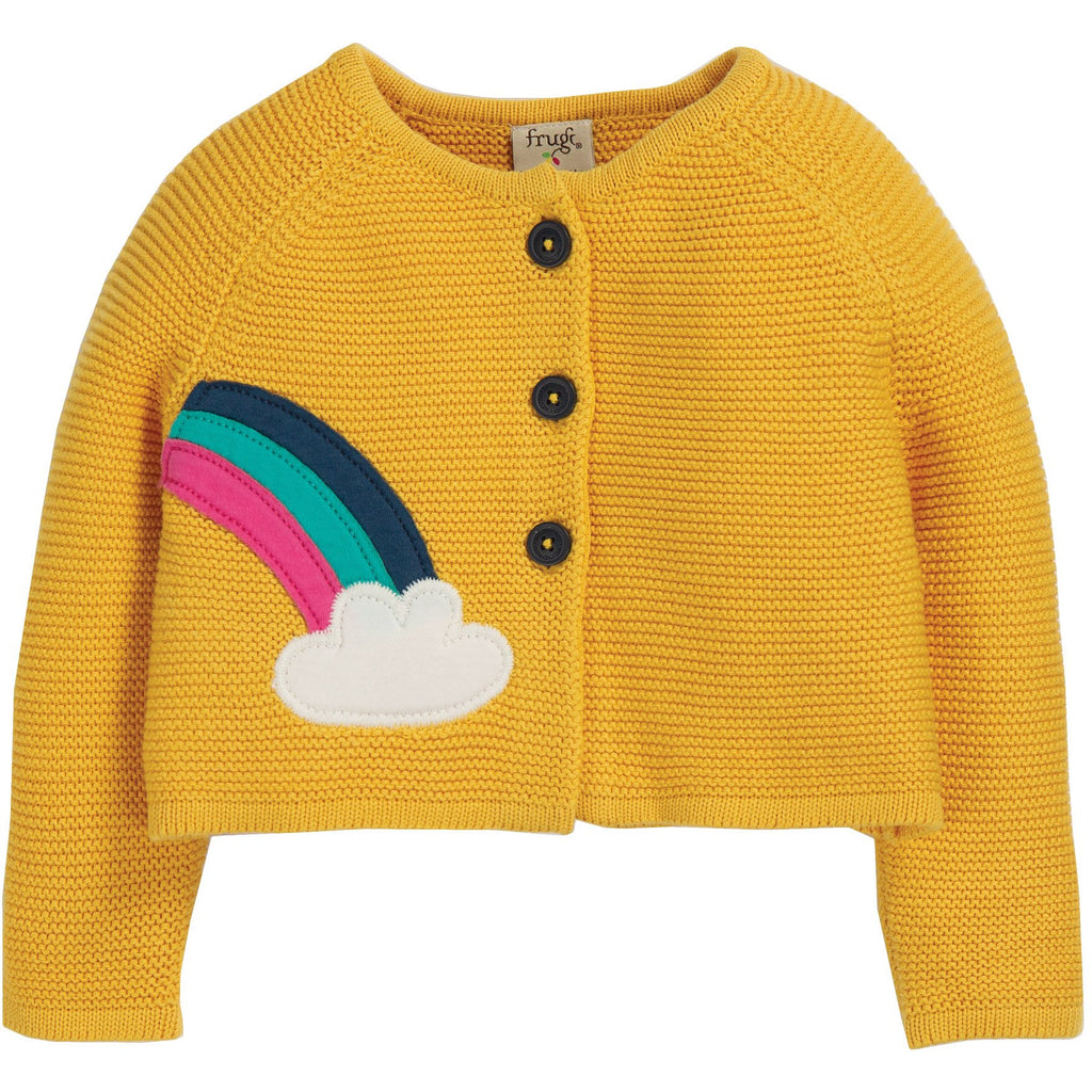 Frugi - Little Frugi - Annie Applique Cardigan Bumble Bee/Cloud - PopSee Online