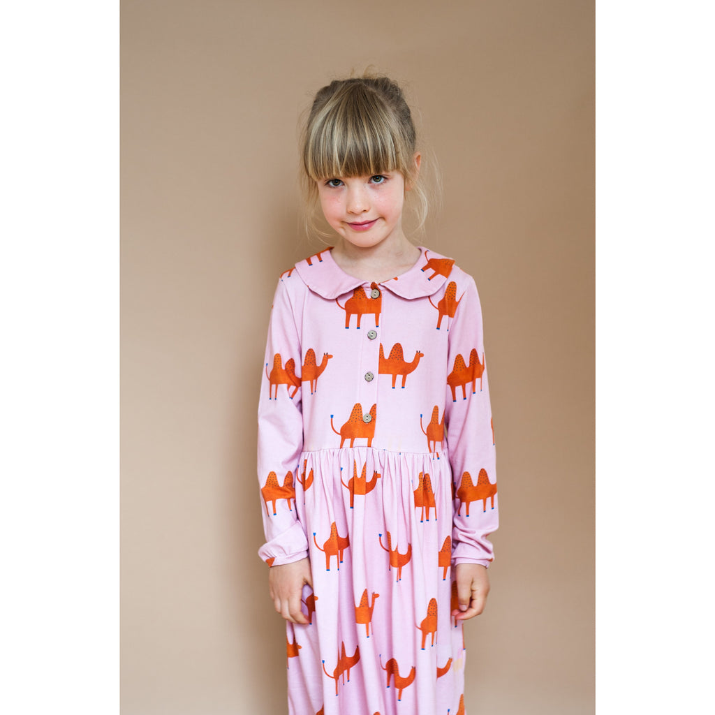 Don't grow up - Pink Camel collared Dress