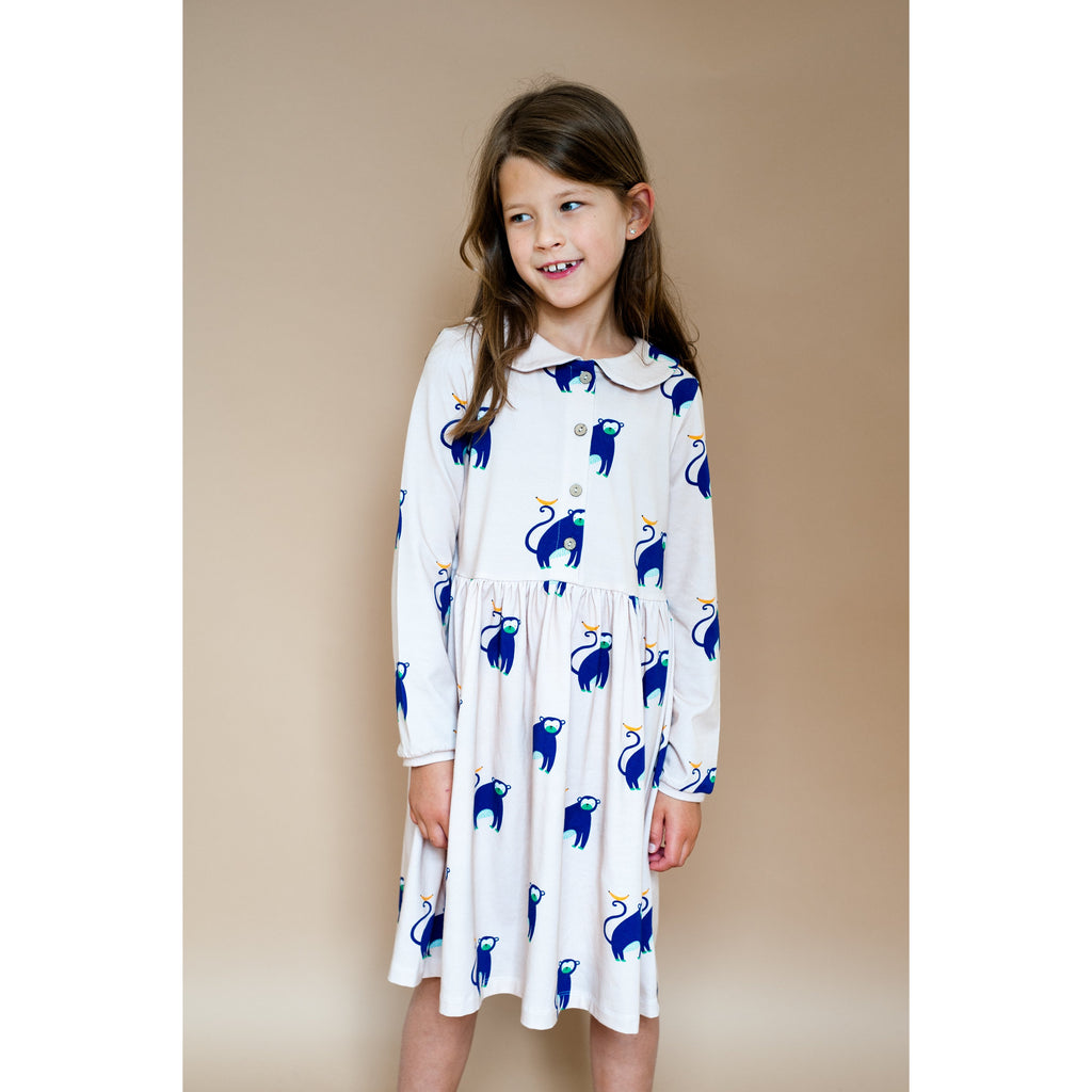 Don't Grow Up - Blue Monkey collared Dress (Last Size 8-9Yrs)