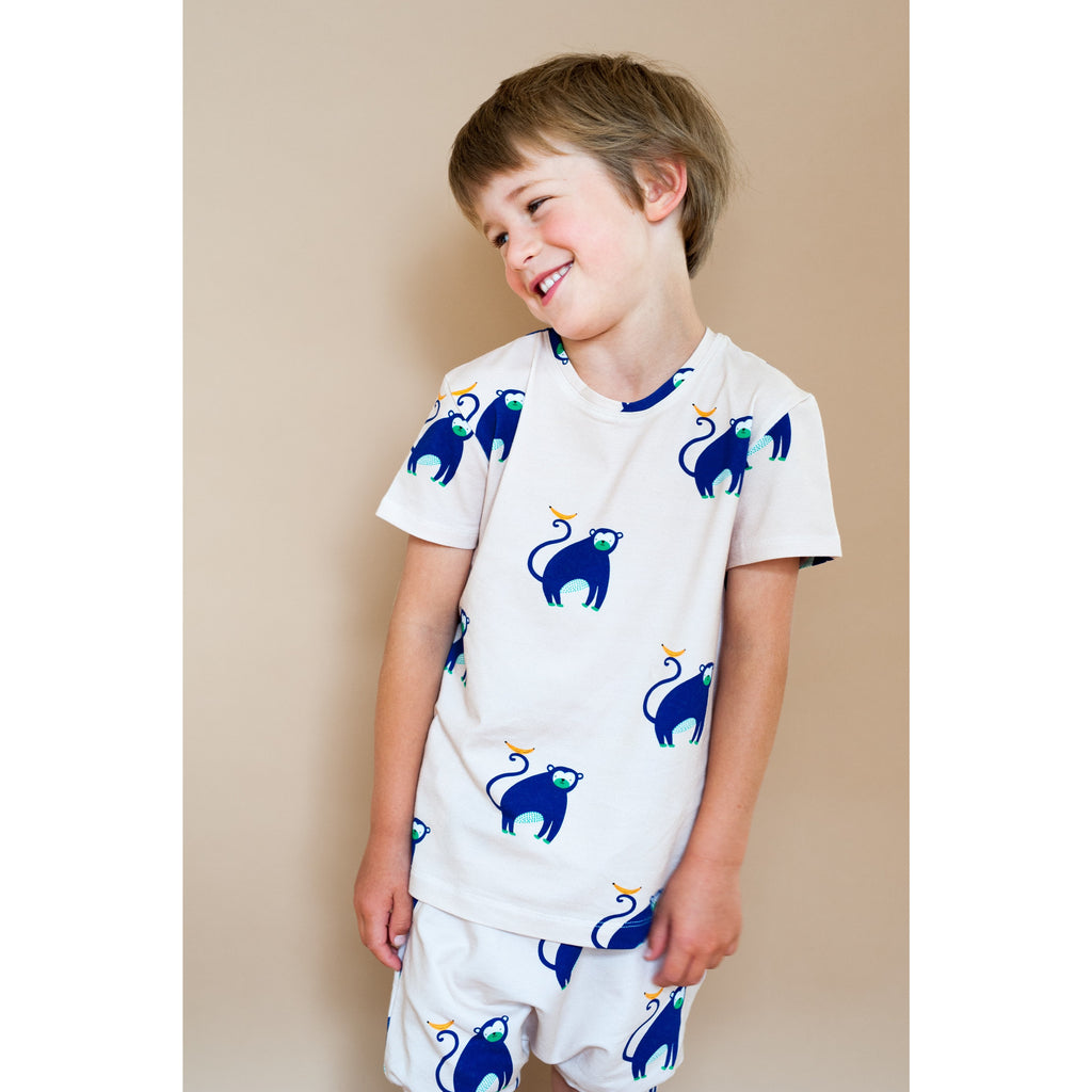 Don't Grow Up Organic - Blue Monkey T-Shirt