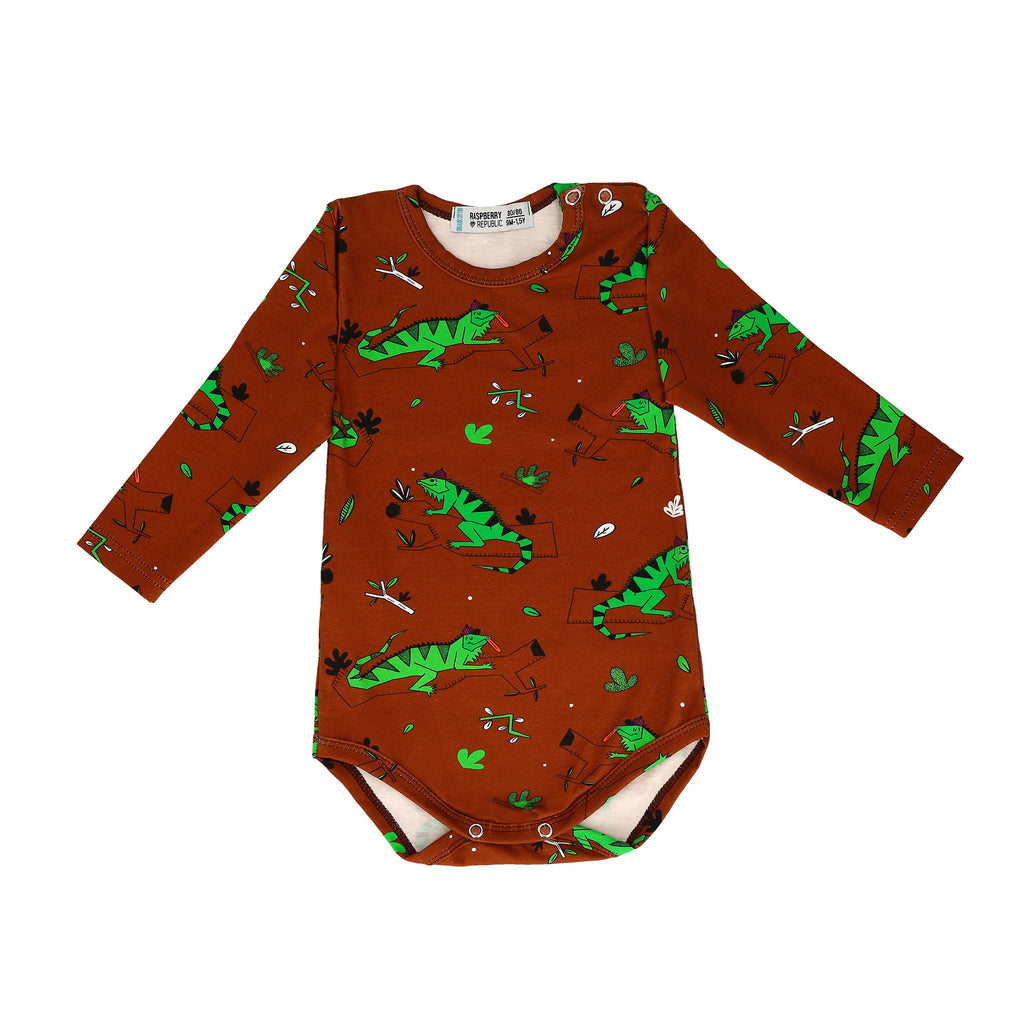 Raspberry Republic - Body Long Sleeve Ignacio the Iguana Brown - PopSee Online
