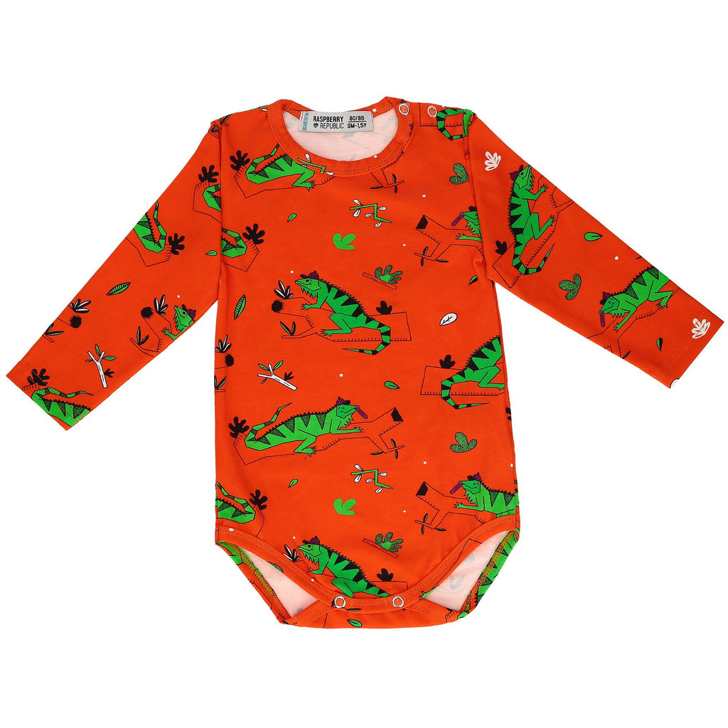 Raspberry Republic - Body Long Sleeve Ignacio the Iguana Red - PopSee Online