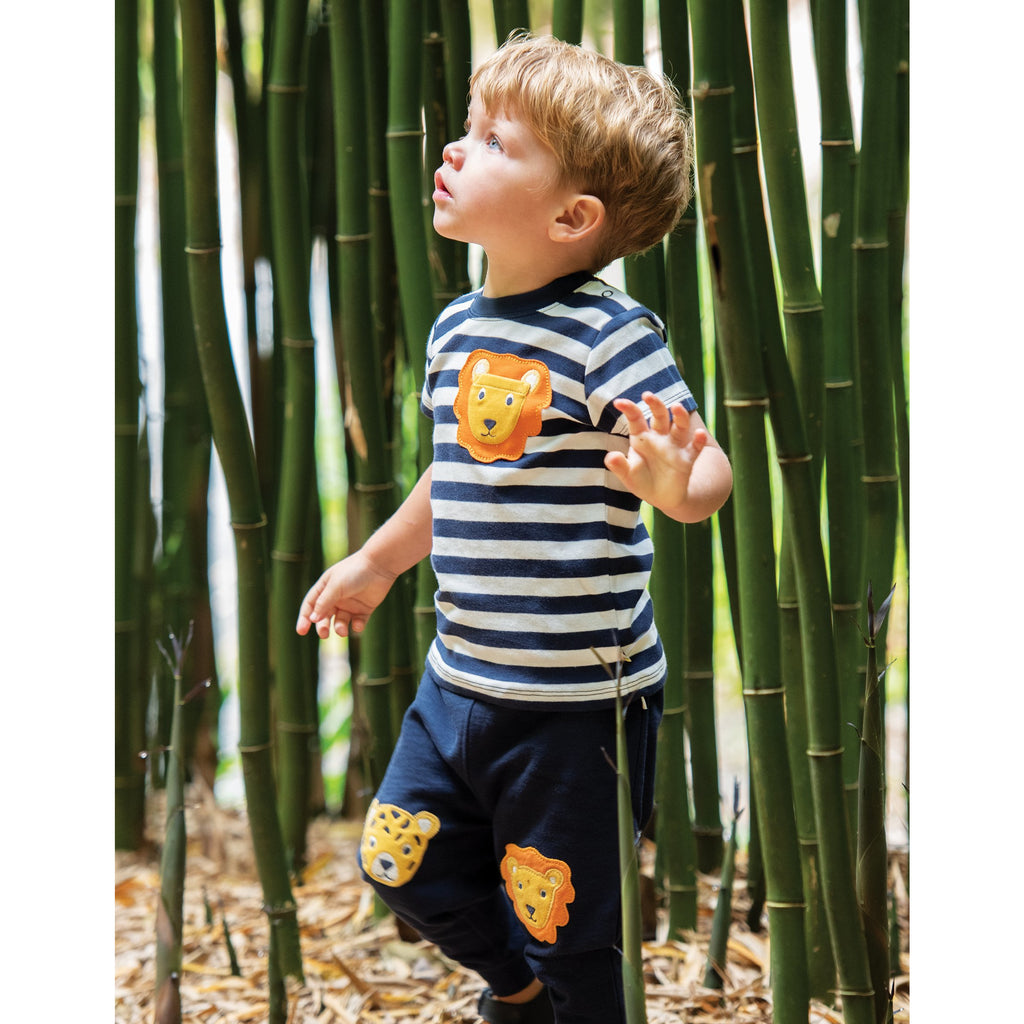 Frugi - Indigo/Big Cats-Kneepatch Crawlers (last two 18-24M & 2-3Y)