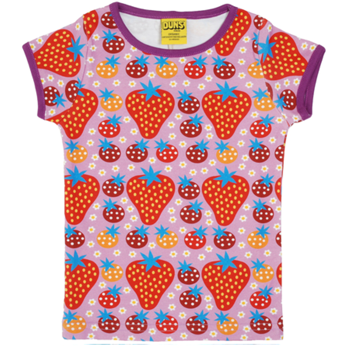 Duns Sweden - Strawberry Field Light Purple Short Sleeve Top - PopSee Online