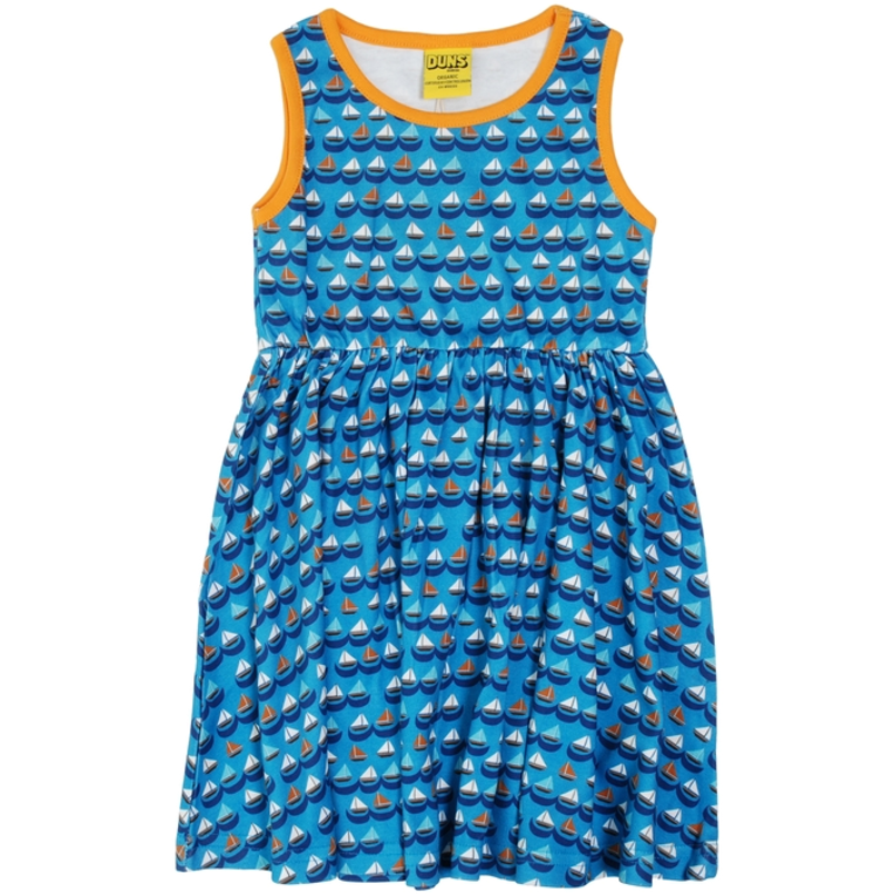 Duns Sweden - Sailing Boats Blue Sleeveless Dress W Gather Skirt - PopSee Online