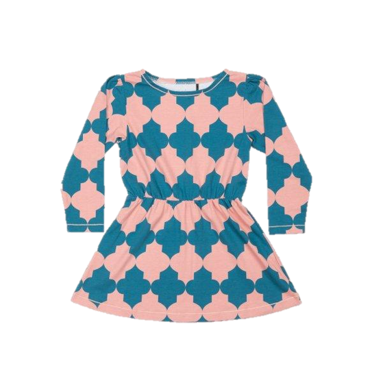 Alba of Denmark - Dawn Dress Blue Coral Tiles - PopSee Online