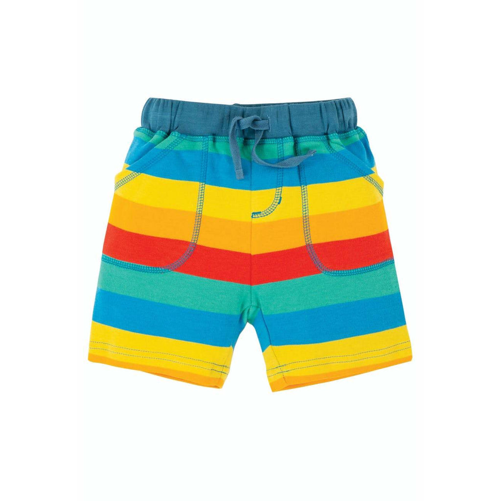 Frugi - Little Stripy Shorts Multi Rainbow Stripe (last one sz 9-12M)