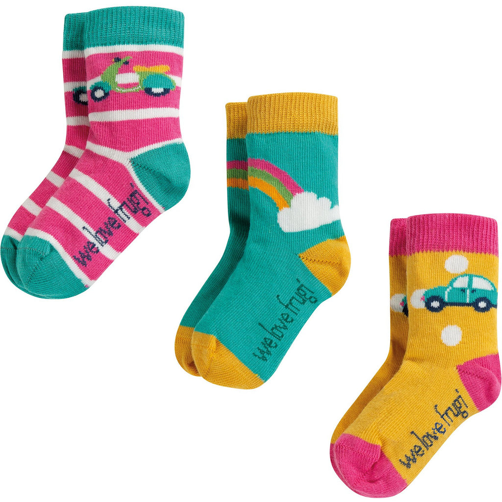 Frugi - Little Socks 3 Pack Rainbow Mulitpack - PopSee Online