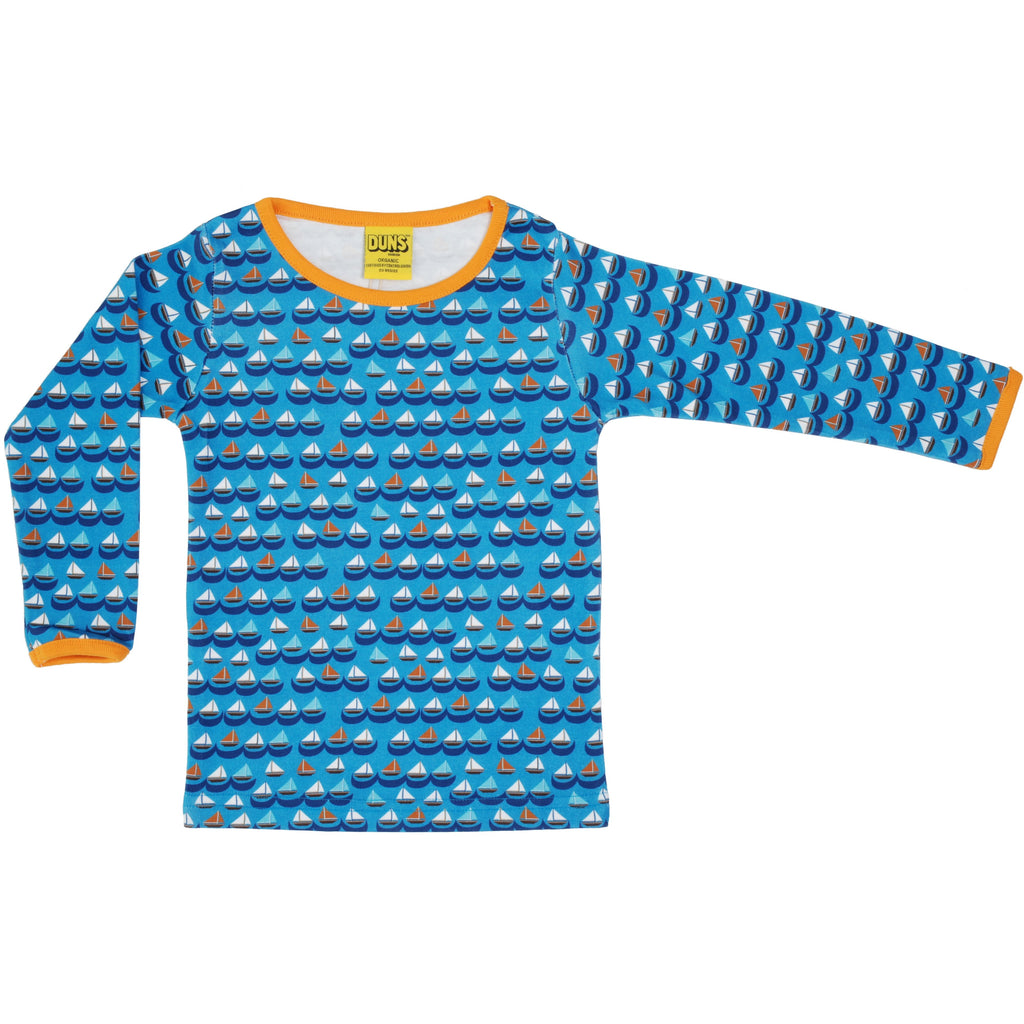 Duns Sweden - Sailing Boats Blue Long Sleeve Top - PopSee Online