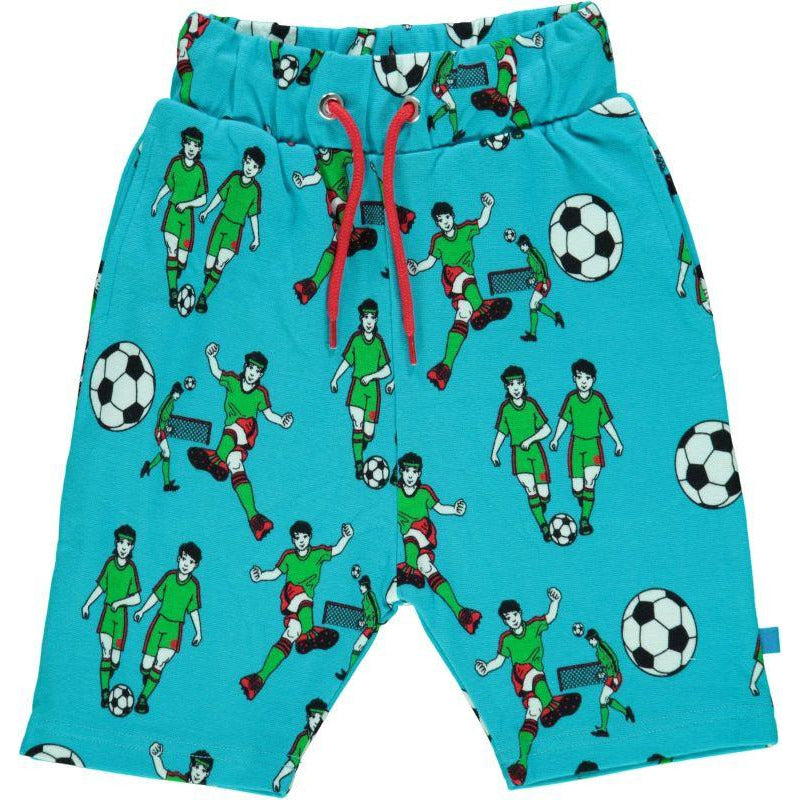 Småfolk - Shorts with Footballs in Blue Atoll