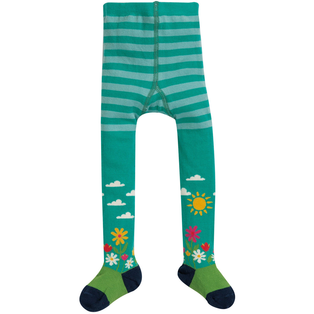 Frugi - Little Norah Tights Bright Aqua/Flower Garden - PopSee Online