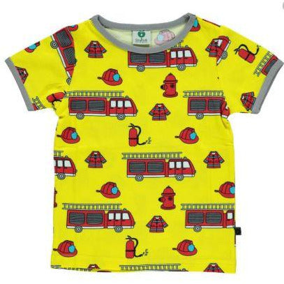 Småfolk - Short sleeve T-shirt with Firetruck (Last two Sizes 1-2Yrs, 2-3Yrs)