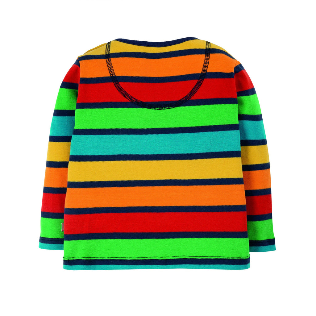 Frugi - Button Applique Top - Bumble Rainbow Stripe/Tractor
