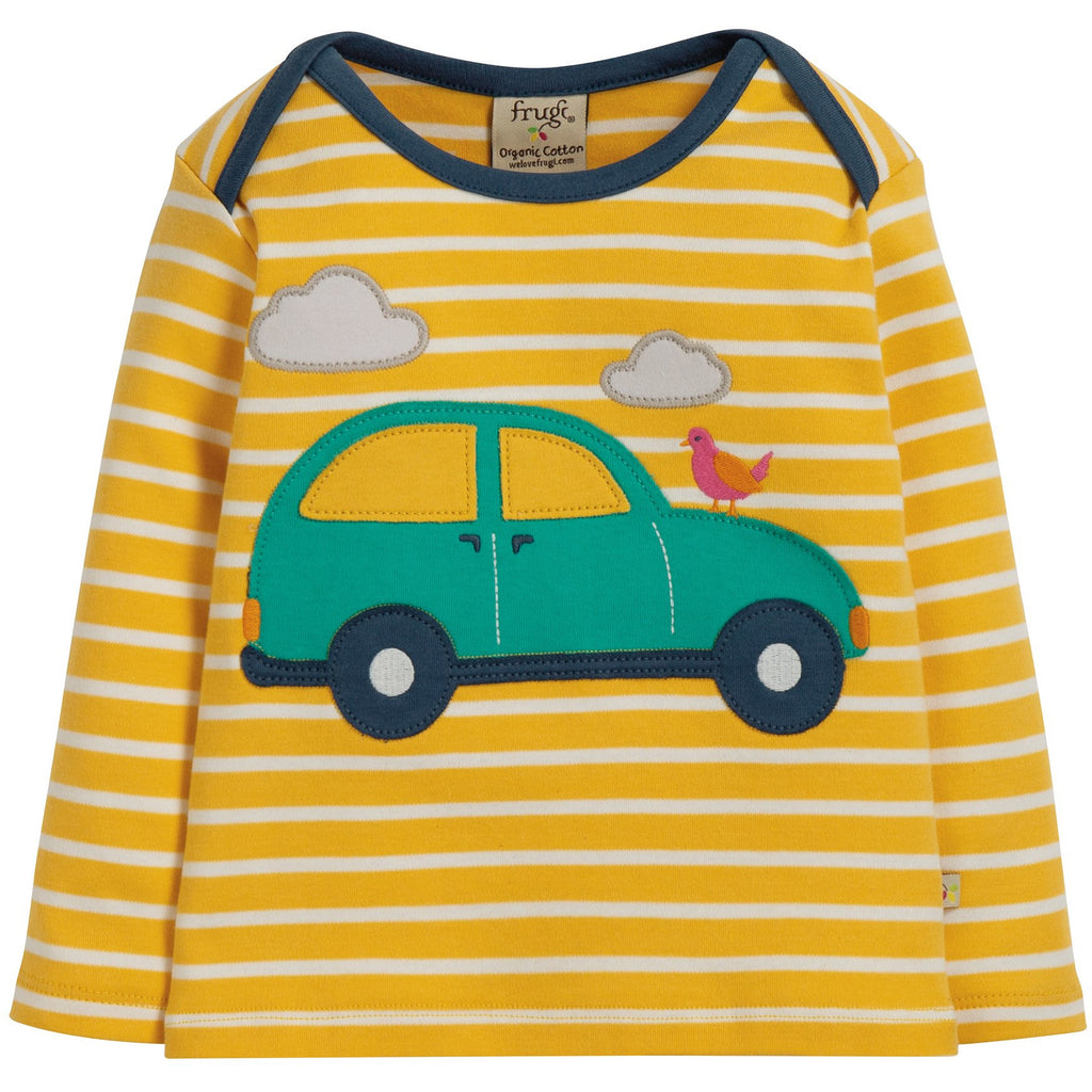 Frugi - Bobby Applique Top Bumble Bee Breton/Car - PopSee Online