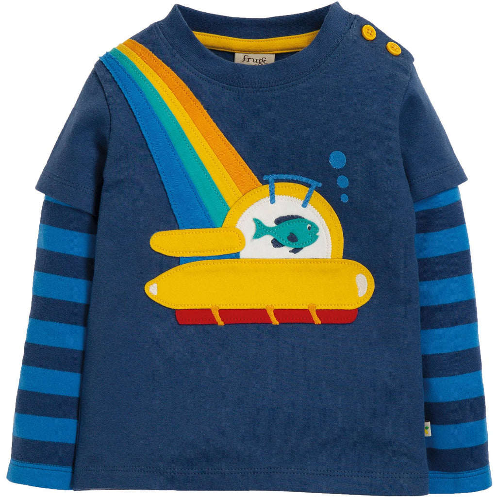 Frugi - Leo Layered Tee Space Blue/Sub - PopSee Online