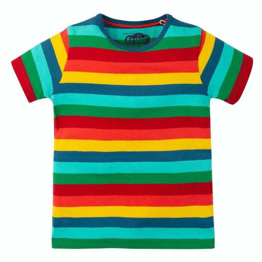 Frugi - Favourite T-Shirt, Steely Blue Multi Stripe