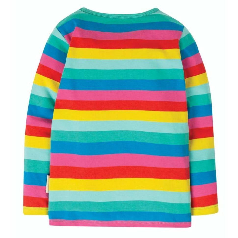 Frugi - Everything Top Long Sleeve Flamingo Multi Stripe