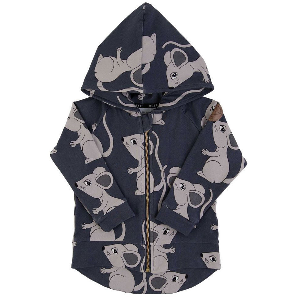 Dear Sophie - Mouse Navy - Hoodie (last two sz 12-24M & 9-10Y)