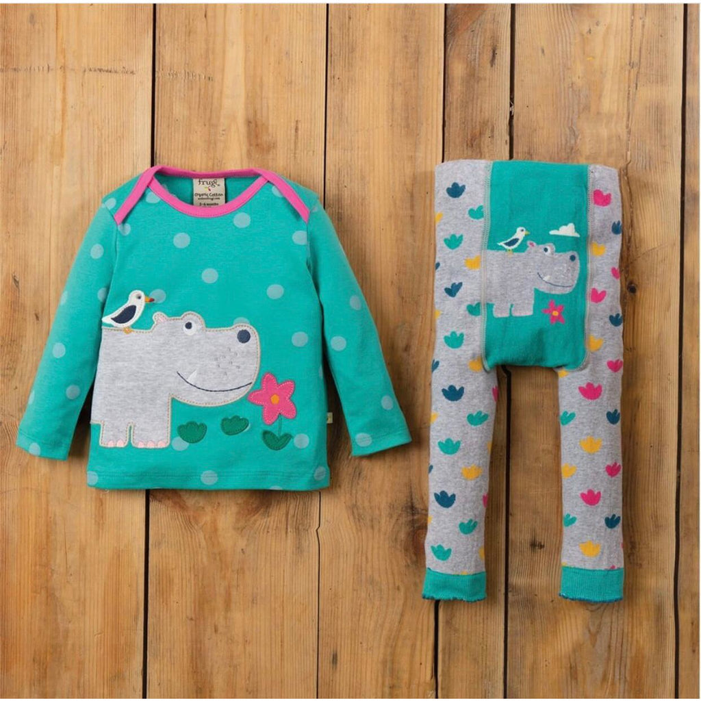 Frugi - Little Knitted Leggings Grey Marl/Hippo (last one sz 9-12M)