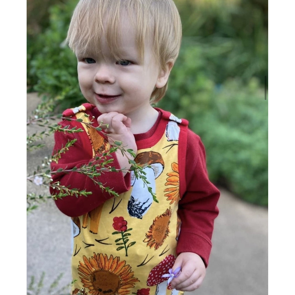 Duns Sweden - Sunflowers And Mushrooms Sunshine Yellow| Dungarees
