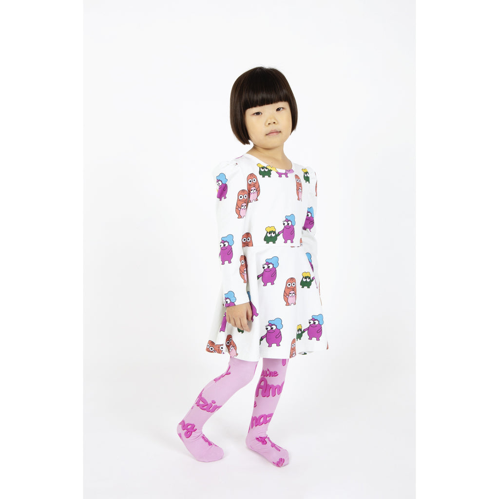 Banana Valentine - Puff Sleeve Dress Bleep Blops (last one sz 10-11Y)