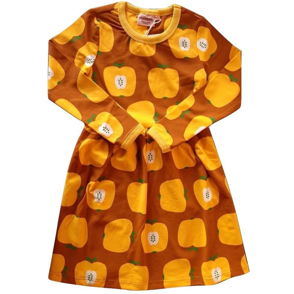 Moromini - Long Sleeve Twirly Dress Yellow apples