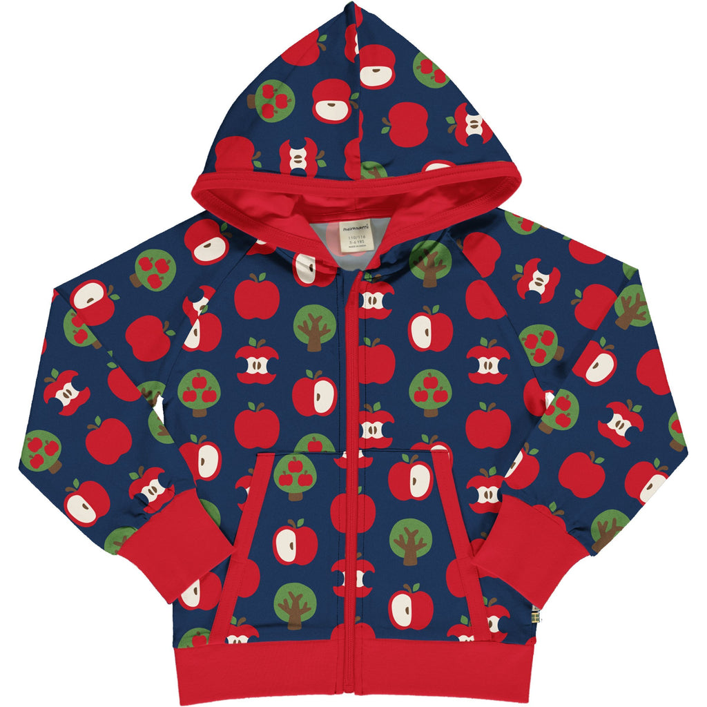 Maxomorra - Hooded Sweat Cardigan Apple (last two sz 5-6Y & 7-8Y)