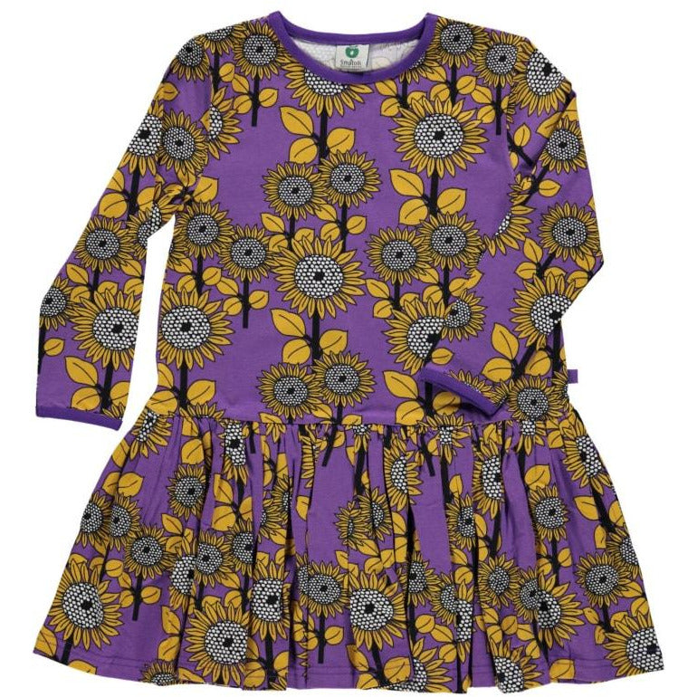 Småfolk - Dress with Sunflowers in Purple Heart