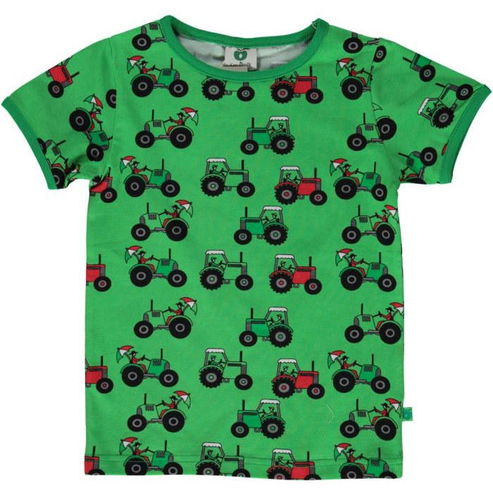 Smafolk - T-shirt with Tractor in Green