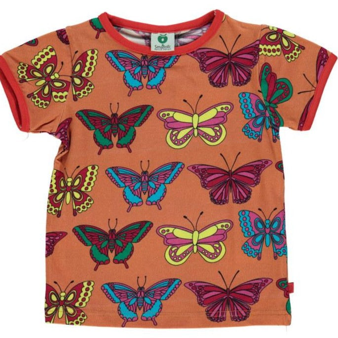 Småfolk- T-shirt Short Sleeve Butterfly - Orange