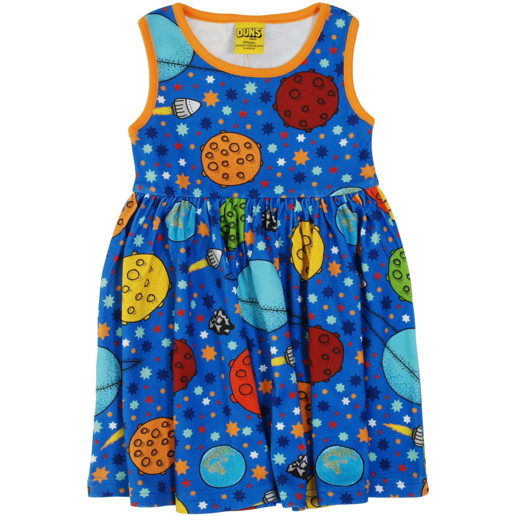 Duns Sweden - Lost In Space Blue Sleeveless Dress W Gather Skirt - PopSee Online