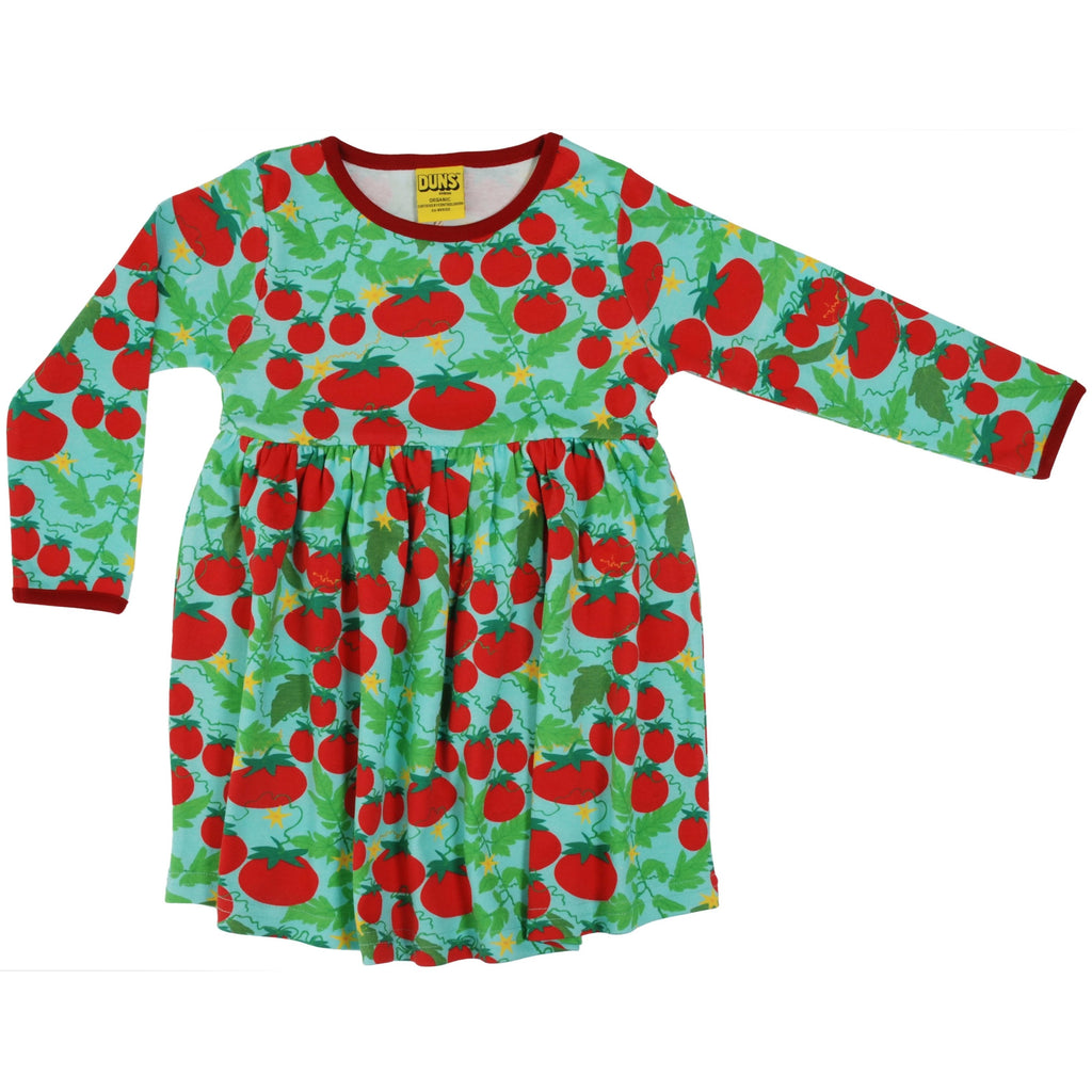 Duns Sweden - Growing Tomatoes Turquoise Long Sleeve Dress W Gather Skirt - PopSee Online