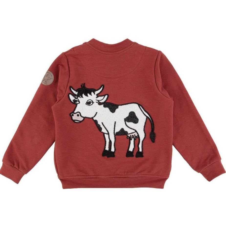 Dear Sophie - Cow - Bomber Jacket Red (last two sz 5-6Y & 7-8Y)