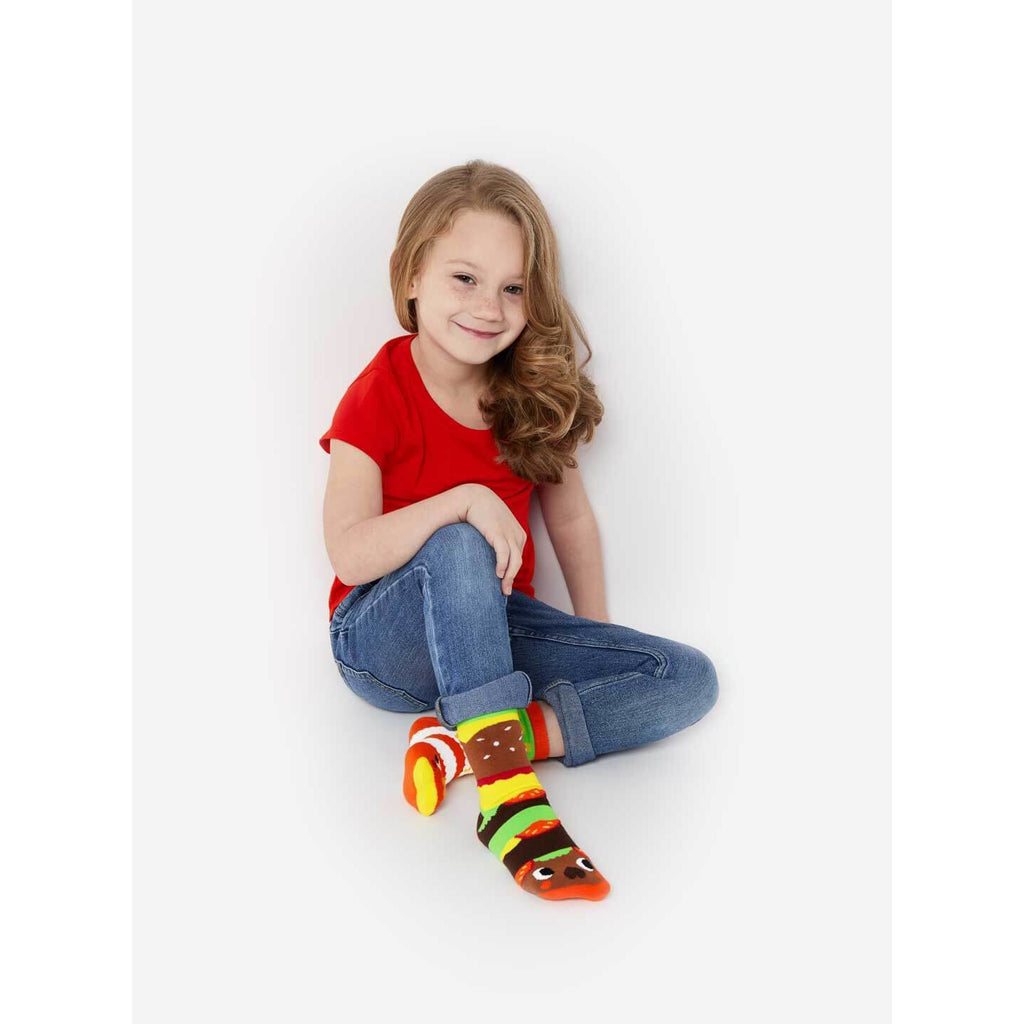 Pals Socks - Burger & Fries Crowded Teeth Artist Series Kids Mismatched Socks - PopSee Online