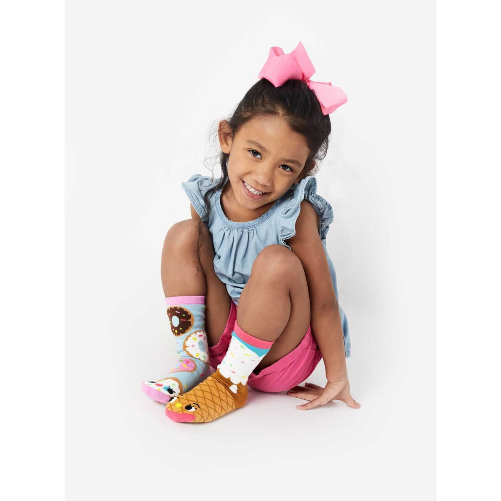 Pals Socks - Donut & Ice Cream Crowded Teeth Artist Series Kids Mismatched Socks - PopSee Online