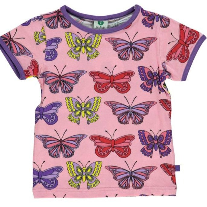 Småfolk- T-shirt Short Sleeve Butterfly - Sea pink
