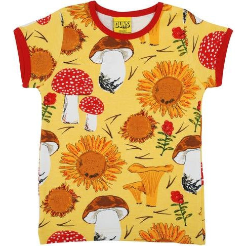 Duns Sweden - Sunflowers And Mushrooms Sunshine Yellow| Short Sleeve Top
