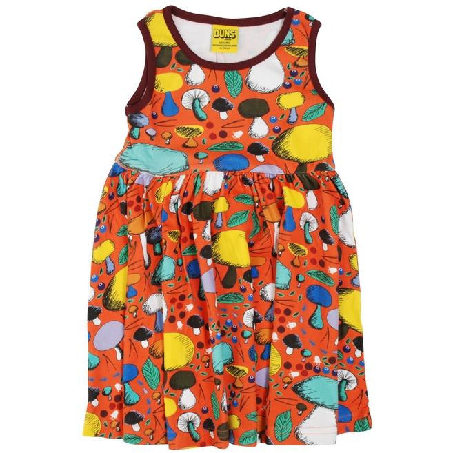 Duns Sweden - Mushroom Forest Dark Orange Sleeveless Dress W Gathered Skirt