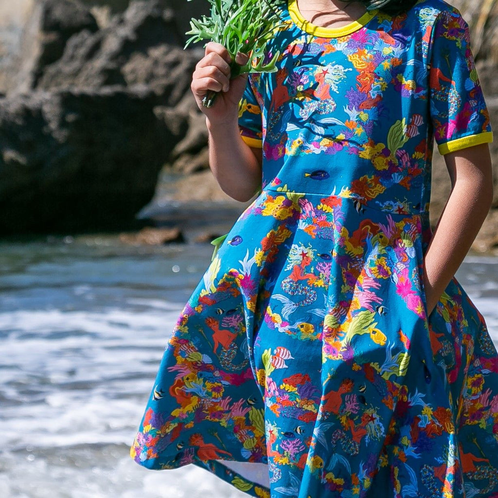 Coddi and Womple - Short Sleeve Twirl Dress - Mermaids: Pearl and Merin the Ocean's Gardener
