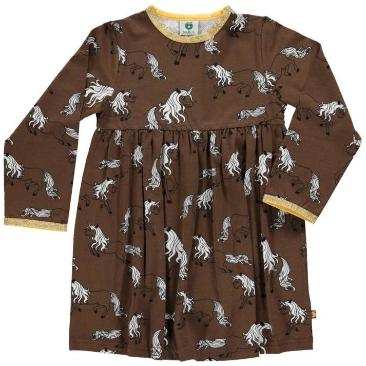 Småfolk - Dress with Unicorn in Bison