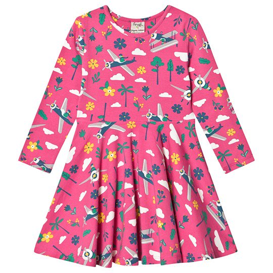 Frugi - Sofia Skater Dress Flamingo Flying High - PopSee Online