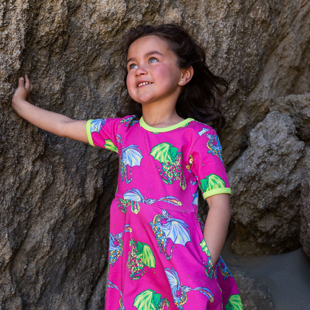 Coddi and Womple - Short Sleeve Skater Dress - Dragon  Astrid & Orion (Last one sz 6-7Y)